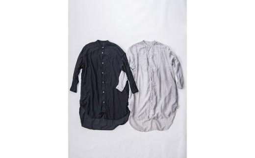 AN-1908 【泥藍染】手染めシルクコットン切替BIGシャツ (TS17-W06-BL)