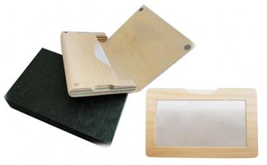 [№5665-0303]木の名刺入れ&カードケースセット<椴松(トドマツ)T型>