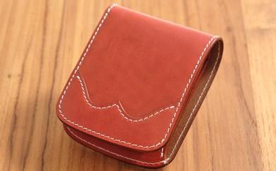 [№5641-0456]牛革ハーフウォレット(二つ折り財布)ブラウン