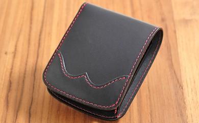 [№5641-0455]牛革ハーフウォレット(二つ折り財布)ブラック