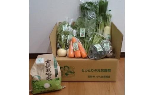 078 有機JAS認定 冬野菜とお米の詰め合わせセット