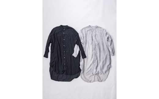 AN-1907 【墨染】手染めシルクコットン切替BIGシャツ (TS17-W06-LG)