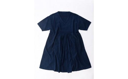 AL-1901 【藍染】手染めコットンセンターギャザーワンピース (TS12-W01-N)