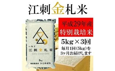 【平成29年度米】☆全3回お届け頒布☆ 江刺金札米ひとめぼれ パック米 5kg×3回