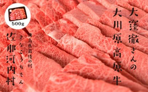 [№5852-0046]「幻の高原牛」大川原高原牛焼肉用モモ 500g※クレジット決済のみ