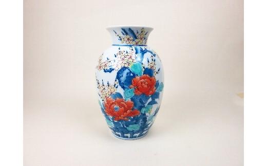 H359色鍋島梅牡丹文花瓶