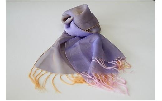 013-003 ふんわり軽やか上品さ漂う米沢織「高級絹ストール 梵字(ぼんじ)柄」