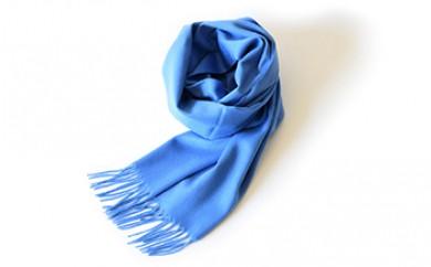 Made in Japan カシミヤストール50cm幅(ブルー)カシミヤ100%