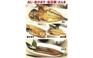 骨まで食べられる焼き魚4種セット(鯵・サンマ・金目・カマス各1枚ずつ入り)x5パック
