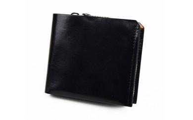 イタリアヌメ革二つ折り短財布(ブラック)