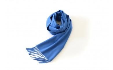 Made in Japan カシミヤマフラー30cm幅(ブルー)カシミヤ100%