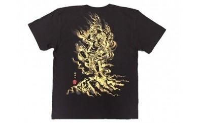 蔵王権現 手描き墨絵Tシャツ 黒