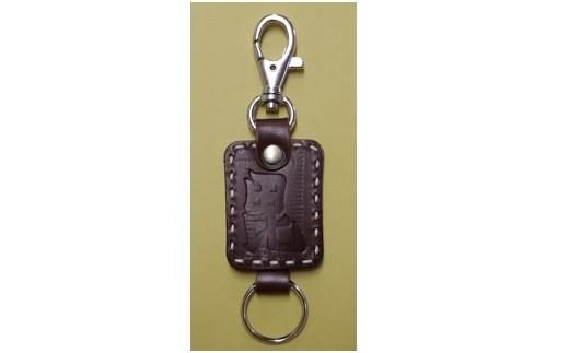 027-022 手縫い牛革毘沙門キーホルダー