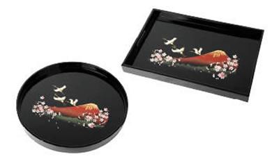 長手盆・丸盆 2枚セット富士に桜(木製・カシュー漆塗り)