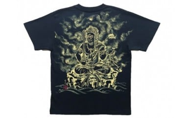 不動明王座像 手描き墨絵Tシャツ 黒