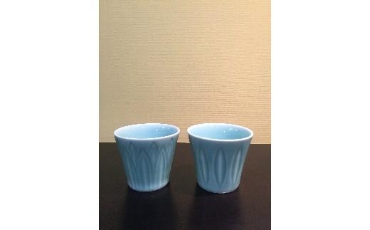 H379青磁彫コップセット