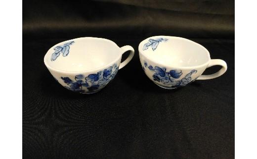 H407葡萄絵スープカップ2個セット(陶咲花)