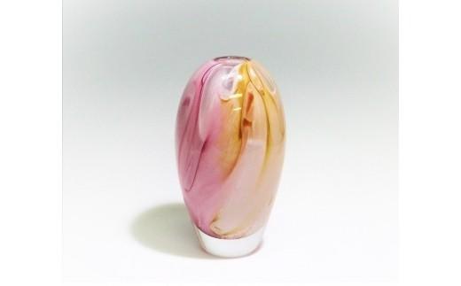 3-3 スウェーデンガラス「花器(ドリーム)」ピンク/イエロー