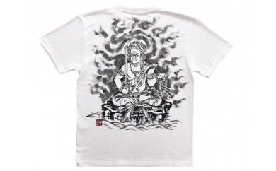 不動明王座像 手描き墨絵Tシャツ 白