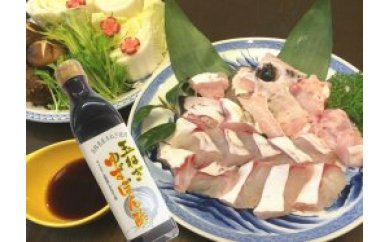 プリプリ旨味たっぷり!極上のクエ鍋セット500g(3~4人前)淡路島玉ねぎポン酢付き!