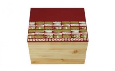 Njeco汎鮨蒔絵三段重箱(赤)
