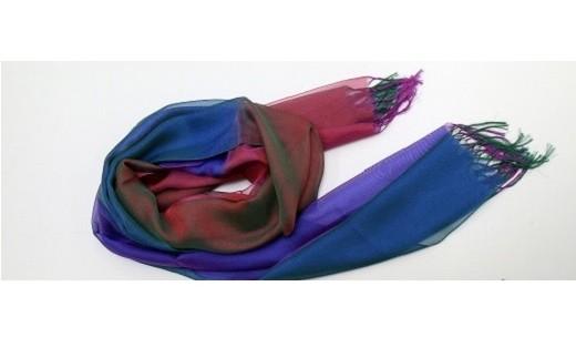013-006 高級絹ストール さざなみ(濃紫緑)