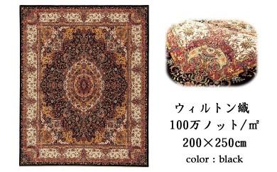 100万ノットの超高密度 ウィルトン織りカーペット(サイズ200×250㎝)色:ブラック