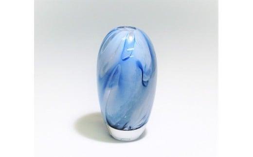 3-2 スウェーデンガラス「花器(ドリーム)」ブルー