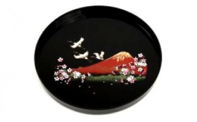 尺 丸盆  富士に桜