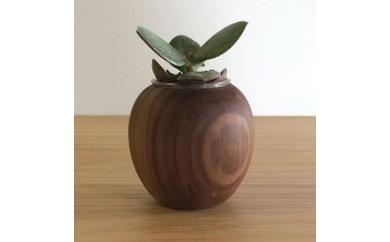 かわいい木製ポット「りんご」キャンドル・植物どちらでも使えます。