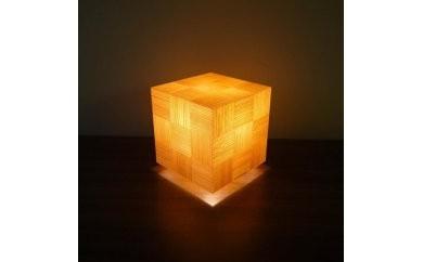 アクリキューブ行灯 銘木ツキ板 市松模様(国産杉板目)LED電球