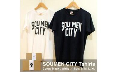 さりげなく個性をアピール出来るSOUMEN CITY  Tシャツ【白・Lサイズ】