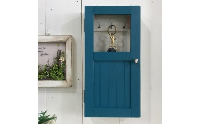小さな扉のキーボックス 青色
