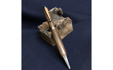 ウォールナット材の木製ボールペン 2ピース回転式(金具:クロームメッキ)