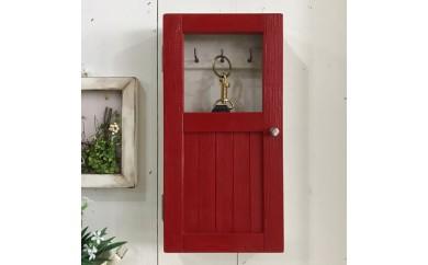 小さな扉のキーボックス 赤色