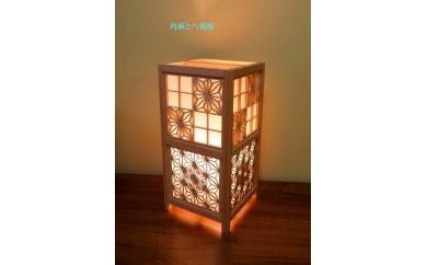 レーザー行灯「趣」  Lサイズ 八重桜と角麻組子 (和紙貼り)