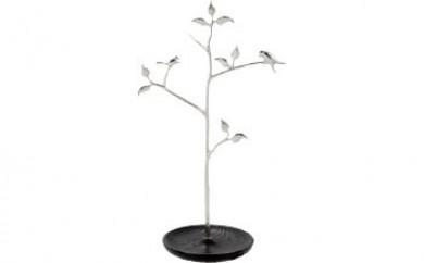 シロカネ 木と小鳥のアクセサリースタンド(黒色)