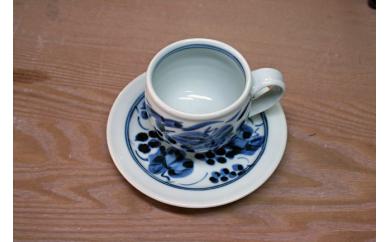 藍山窯(あいざんがま) 葡萄絵樽コーヒーカップ