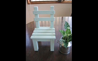 U011-C ライトブルーペイントがかわいい 椅子型フラワースタンド ミニ 水色