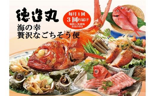 E007 徳造丸 伊豆稲取・海の幸 贅沢なごちそう便(毎月1回)3回コース+毎回人気の珍味おまけ付き