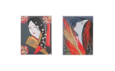 西村恭子魅惑の世界 押し花で描く美人画 オリジナルポストカード かぐや姫シリーズ5枚セット