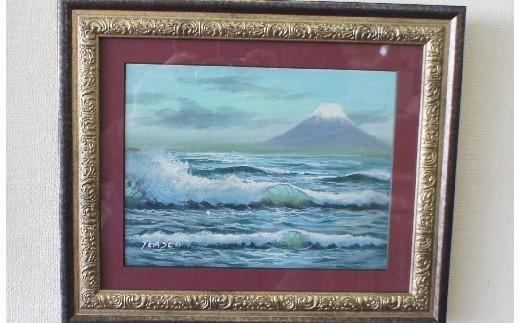 油絵 富士山と波_0U03
