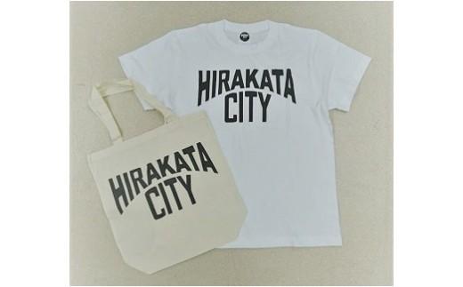 《B1-069》「HIRAKATA CITY」Tシャツ(白Mサイズ)+トートバッグセット