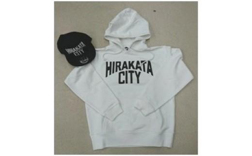 《B2-007》「HIRAKATA CITY」パーカー(白Mサイズ)+CAP(黒)セット