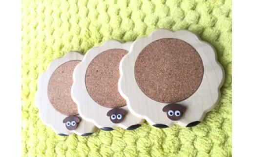 A601 サフォーク羊のコースター【3個組】