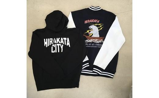 《B7-004》「HIRAKATA CITY」70thプレミアムスタジアムジャンパー(ネイビーL)+パーカー(黒L)