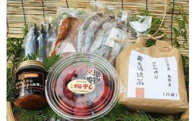 (14,000pt)手作り、無添加「紀和の梅干」が入った!熊野のごはんとおかずセット