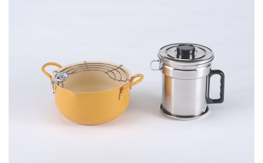 1801173 鉄製揚げ鍋&ステンレス製オイルポット(活性炭入り)セット