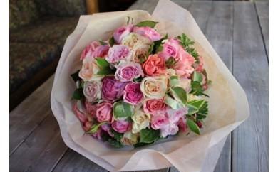 市川バラ園 特選フレグランスローズ花束(パステルMIX)