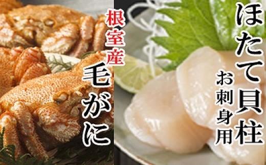 CD-16007 【北海道根室産】毛ガニ400~550g前後×1尾、ほたて貝柱200g